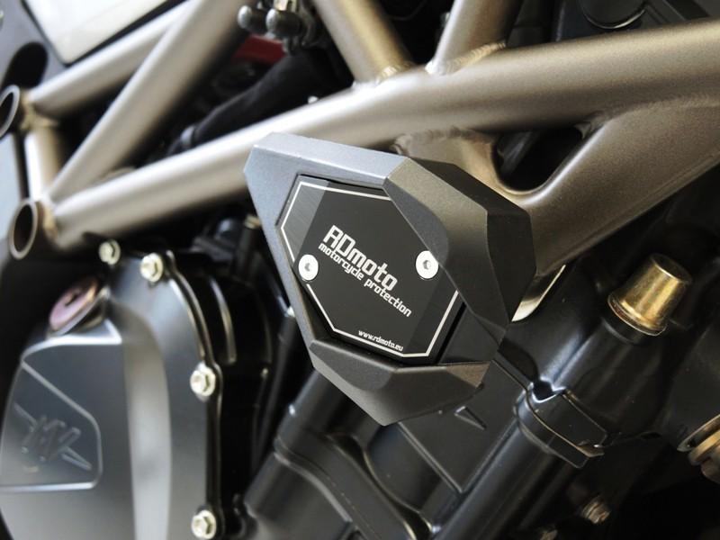 RDmoto アールディーモト ガード・スライダー クラッシュスライダー【Crash sliders】 Colour:black polyamid Colour:blue aluminium anodized Brutale 910