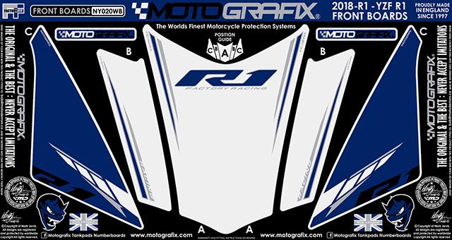 【ポイント5倍開催中!!】MOTOGRAFIX モトグラフィックス ステッカー・デカール ボディーパッド カラー:ホワイト/グレー、ブラック、レッド(WB) YZF-R1