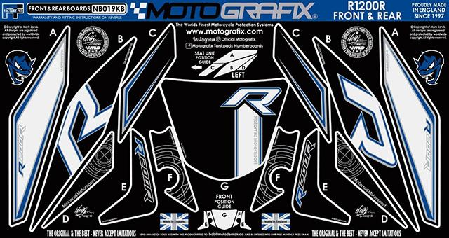 【ポイント5倍開催中!!】MOTOGRAFIX モトグラフィックス ステッカー・デカール ボディーパッド ブラック/ホワイト、ブルー、メタリックシルバー(KB) R1200R