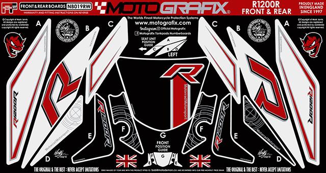 【ポイント5倍開催中!!】MOTOGRAFIX モトグラフィックス ステッカー・デカール ボディーパッド ブラック/ホワイト、レッド、メタリックシルバー(RW) R1200R