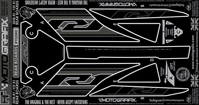 MOTOGRAFIX モトグラフィックス ステッカー・デカール ボディーパッド カラー:ブラック/グレー、メタリックシルバー(KE) YZF-R1
