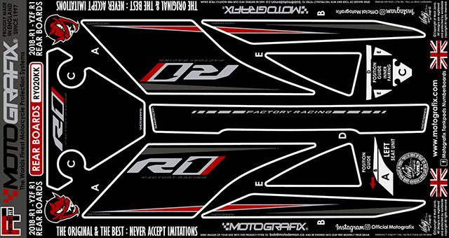 【ポイント5倍開催中!!】MOTOGRAFIX モトグラフィックス ステッカー・デカール ボディーパッド カラー:ブラック/グレー、レッド、メタリックシルバー(KK) YZF-R1
