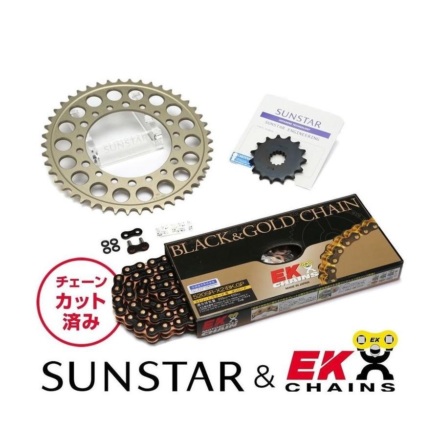SUNSTAR サンスター フロント・リアスプロケット&チェーン・カシメジョイントセット チェーン銘柄:EK製BKGP520SRX2(ブラックチェーン) DR350S