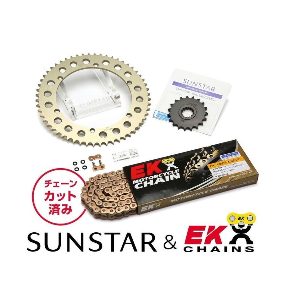 SUNSTAR サンスター フロント・リアスプロケット&チェーン・カシメジョイントセット チェーン銘柄:EK製GPGP428ZVX(ゴールドチェーン) SRX400