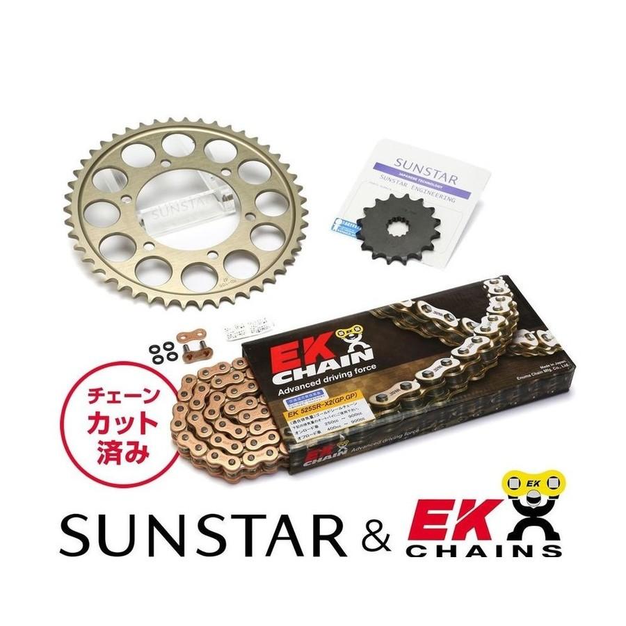 SUNSTAR サンスター フロント・リアスプロケット&チェーン・カシメジョイントセット チェーン銘柄:EK製GPGP525SRX2(ゴールドチェーン) MT-09 MT-09 トレーサー