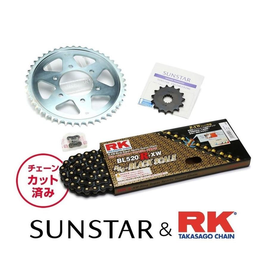 SUNSTAR サンスター フロント・リアスプロケット&チェーン・カシメジョイントセット チェーン銘柄:RK製BL520R-XW(ブラックチェーン) スーパーシェルパ