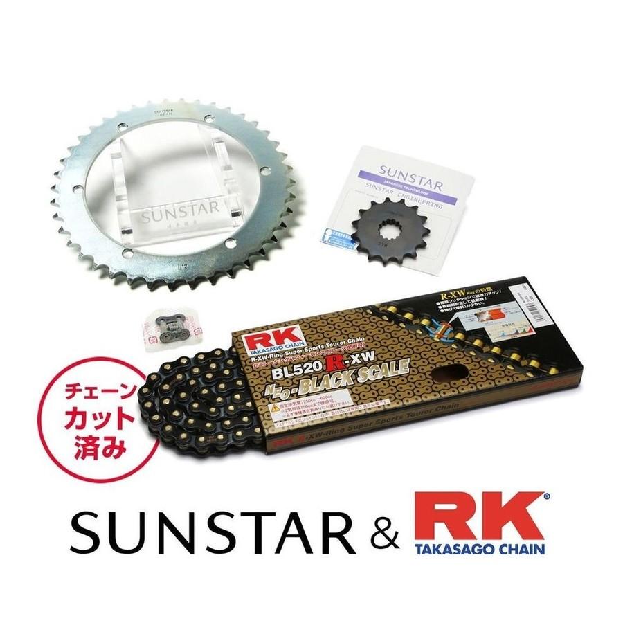 SUNSTAR サンスター フロント・リアスプロケット&チェーン・カシメジョイントセット チェーン銘柄:RK製BL520R-XW(ブラックチェーン) SR400