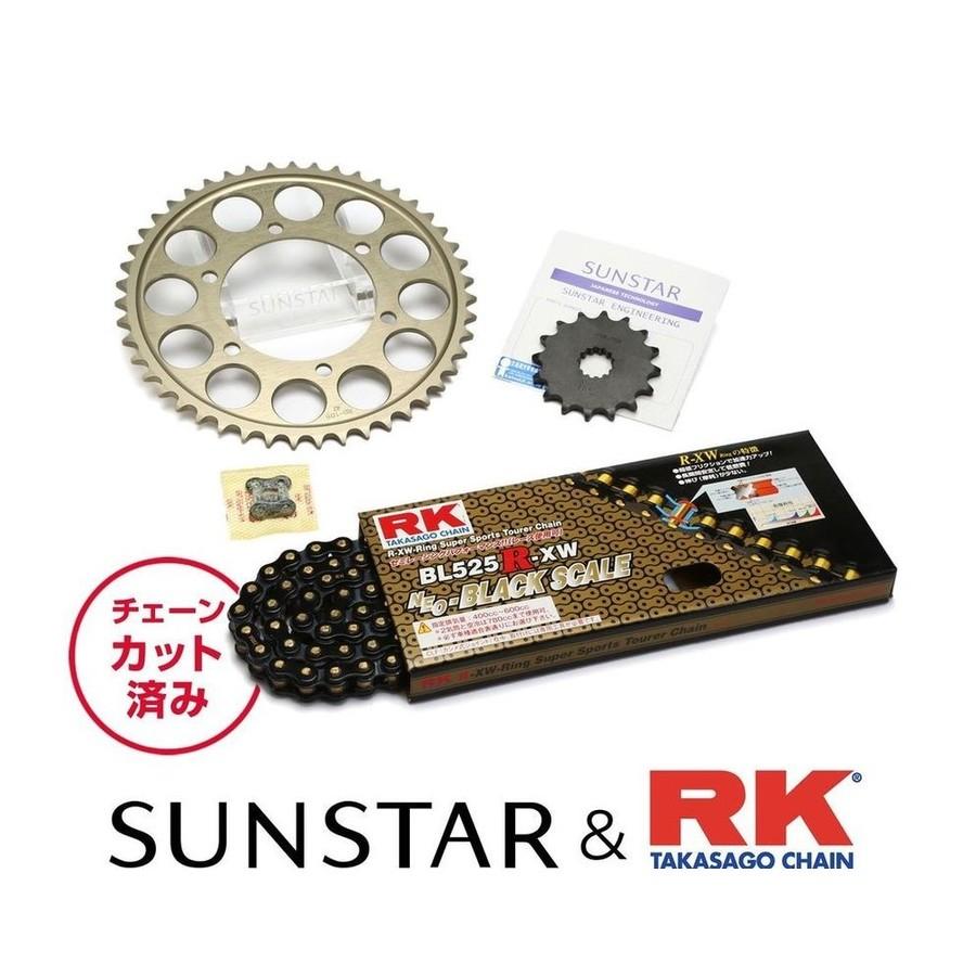 SUNSTAR サンスター フロント・リアスプロケット&チェーン・カシメジョイントセット チェーン銘柄:RK製BL525R-XW(ブラックチェーン) GSX-R600
