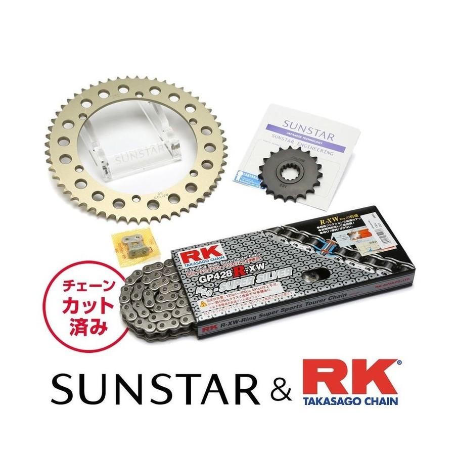 SUNSTAR サンスター フロント・リアスプロケット&チェーン・カシメジョイントセット チェーン銘柄:RK製GP428R-XW(シルバーチェーン) VT250スパーダ