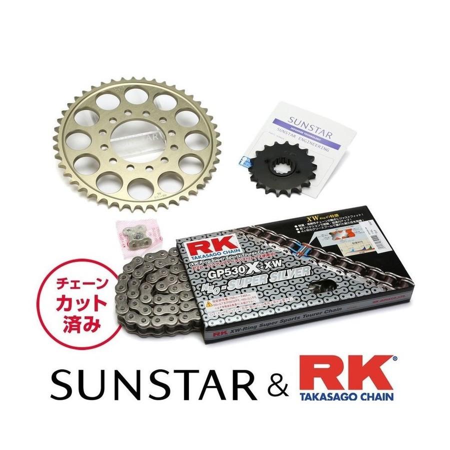 SUNSTAR サンスター フロント・リアスプロケット&チェーン・カシメジョイントセット チェーン銘柄:RK製GP530X-XW(シルバーチェーン) Z400FX Z400GP Z400J