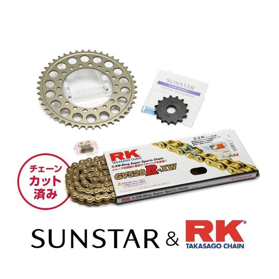 SUNSTAR サンスター フロント・リアスプロケット&チェーン・カシメジョイントセット チェーン銘柄:RK製GV520R-XW(ゴールドチェーン) ザンザス