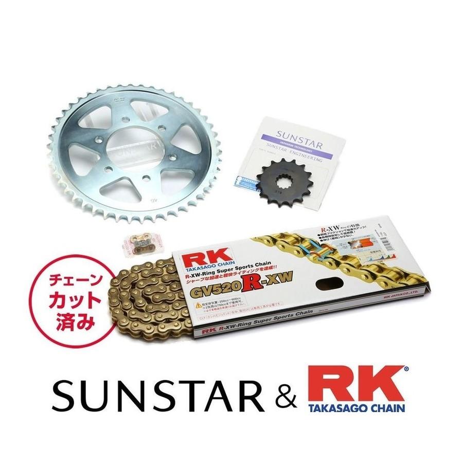 SUNSTAR サンスター フロント・リアスプロケット&チェーン・カシメジョイントセット チェーン銘柄:RK製GV520R-XW(ゴールドチェーン) GSR250 GSR250F GSR250S