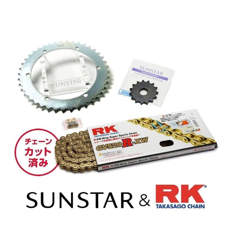 SUNSTAR サンスター フロント・リアスプロケット&チェーン・カシメジョイントセット チェーン銘柄:RK製GV520R-XW(ゴールドチェーン) SL230 XR230