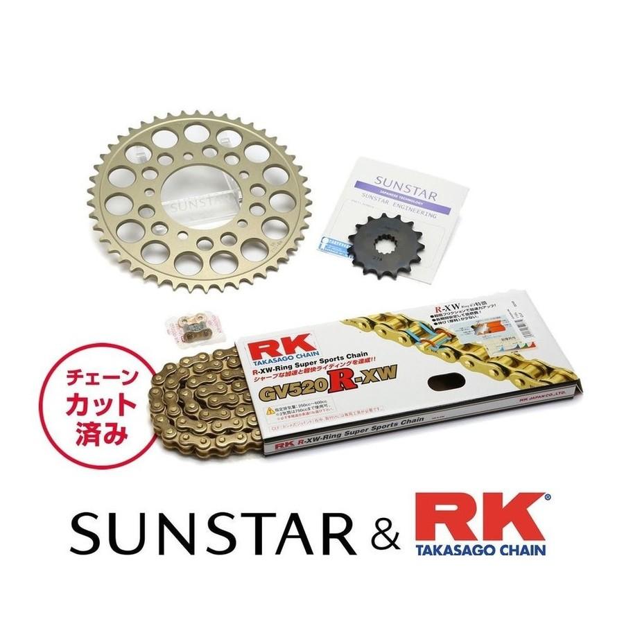 SUNSTAR サンスター フロント・リアスプロケット&チェーン・カシメジョイントセット チェーン銘柄:RK製GV520R-XW(ゴールドチェーン) グラストラッカー