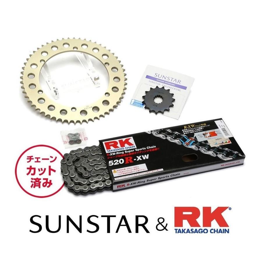SUNSTAR サンスター フロント・リアスプロケット&チェーン・カシメジョイントセット チェーン銘柄:RK製STD520R-XW(スチールチェーン) SR400