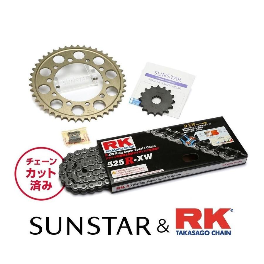 SUNSTAR サンスター フロント・リアスプロケット&チェーン・カシメジョイントセット チェーン銘柄:RK製STD525R-XW(スチールチェーン) ホーネット600