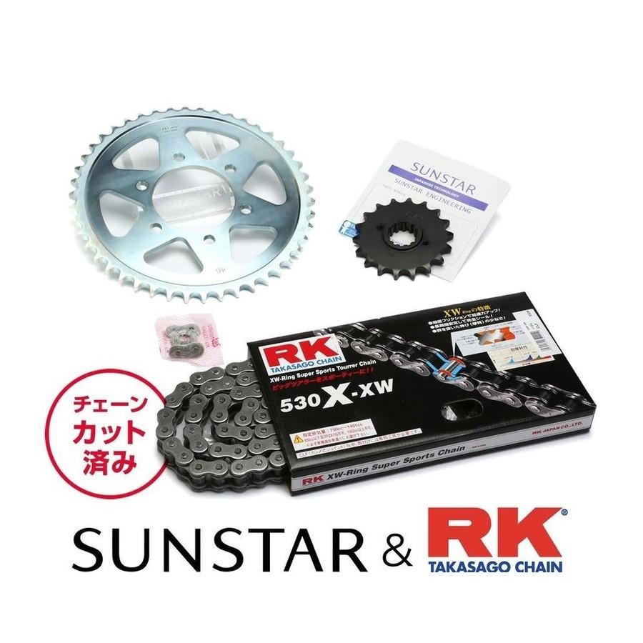 SUNSTAR サンスター フロント・リアスプロケット&チェーン・カシメジョイントセット チェーン銘柄:RK製STD530X-XW(スチールチェーン) ZZR400