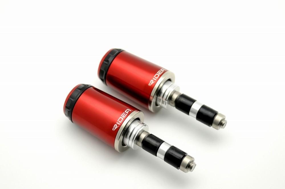 RIDEA リデア ハンドルバーエンド ロングタイプ カラー:レッド ハンドル内径15.5-18mm用