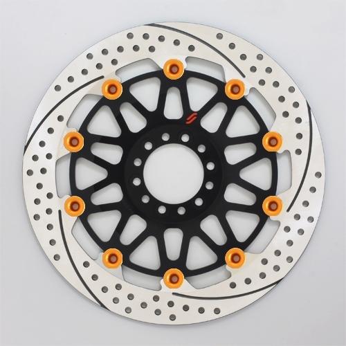 SUNSTAR サンスター PREMIUM RACING [プレミアムレーシング] フロントディスクローター アウターローター:ホール/スリットタイプ フローティングタイプ:セミフローティング フローティングピンカラー:オレンジ 右用