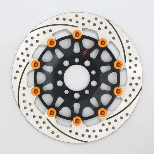 【イベント開催中!】 SUNSTAR サンスター PREMIUM RACING [プレミアムレーシング] フロントディスクローター アウターローター:ホール/スリットタイプ フローティングタイプ:セミフローティング フローティングピンカラー:オレンジ 左用