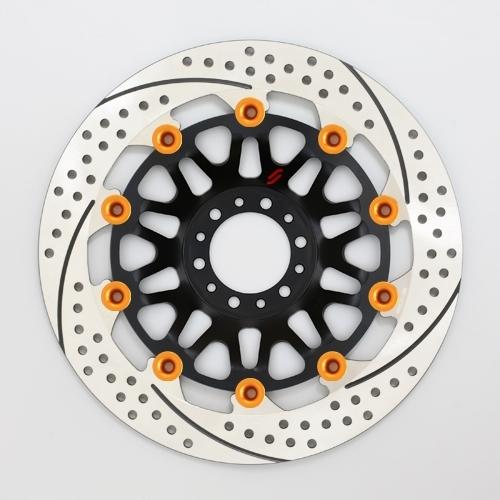 【イベント開催中!】 SUNSTAR サンスター PREMIUM RACING [プレミアムレーシング] フロントディスクローター インナーローター:メッシュタイプ フローティングタイプ:フルフローティング フローティングピンカラー:オレンジ 右用