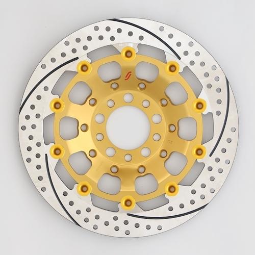 SUNSTAR サンスター PREMIUM RACING [プレミアムレーシング] フロントディスクローター アウターローター:ホール/スリットタイプ フローティングピンカラー:ゴールド 左用 GSX-R1100 GSX-R750