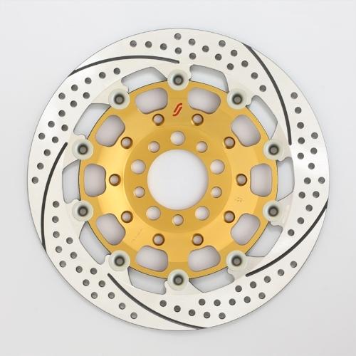 SUNSTAR サンスター PREMIUM RACING [プレミアムレーシング] フロントディスクローター アウターローター:ホール/スリットタイプ フローティングピンカラー:ハードアルマイト 右用 GPZ900R