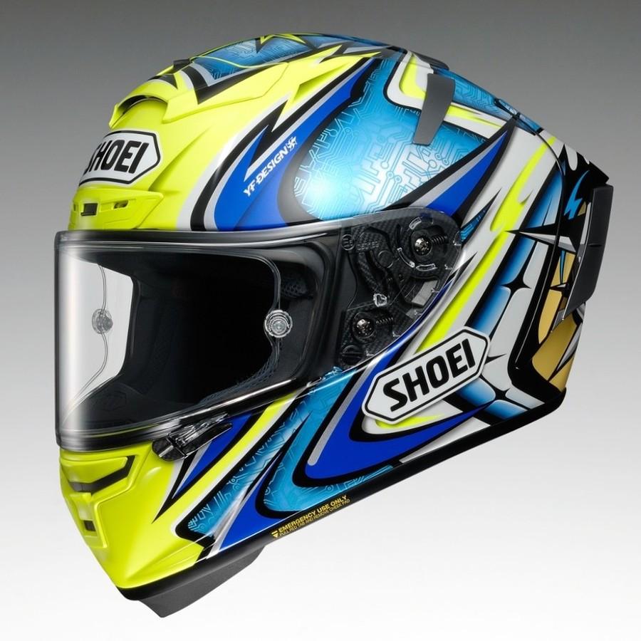 SHOEI ショウエイ フルフェイスヘルメット X-14 DAIJIRO [X-FOURTEEN エックス-フォーティーン ダイジロウ 大治郎 TC-3 YELLOW/BLUE] ヘルメット サイズ:XL(61-62 cm)