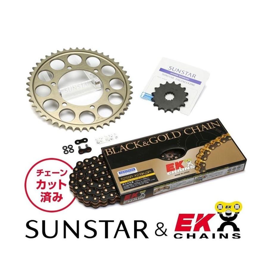 SUNSTAR サンスター フロント・リアスプロケット&チェーン・カシメジョイントセット チェーン銘柄:EK製BKGP525SRX2(ブラックチェーン) ホーネット900