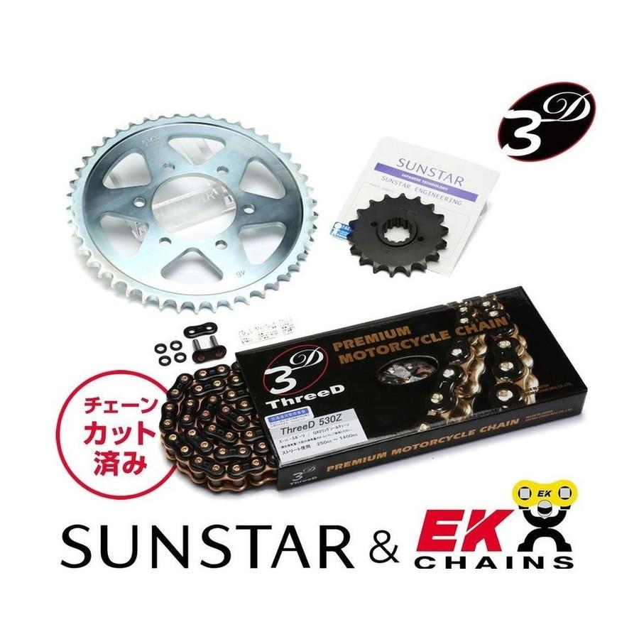 SUNSTAR サンスター フロント・リアスプロケット&チェーン・カシメジョイントセット チェーン銘柄:EK製BK530ZTD(Threed ブラックゴールドチェーン) Z1000J