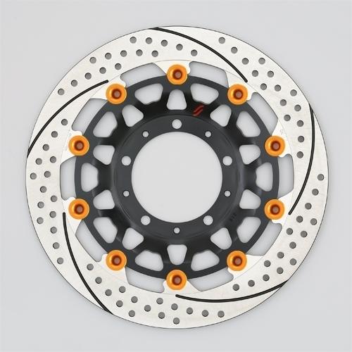 【イベント開催中!】 PREMIUM RACING [プレミアムレーシング] フロントディスクローター アウターローター:ホール/スリットタイプ インナーローター:メッシュタイプ フローティングタイプ:セミフローティング フローティングピンカラー:オレンジ 左用