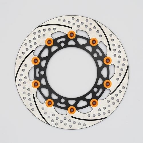 サンスター PREMIUM RACING [プレミアムレーシング] フロントディスクローター アウターローター:ホール/スリットタイプ インナーローター:メッシュタイプ フローティングタイプ:セミフローティング フローティングピンカラー:オレンジ