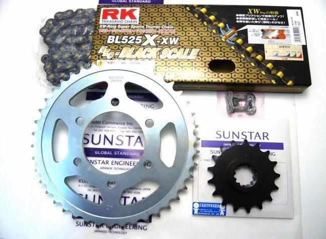 SUNSTAR サンスター フロント・リアスプロケット&チェーン・カシメジョイントセット チェーン銘柄:RK製BL525X-XW(ブラックチェーン) ZRX1200 ZRX1200R ZRX1200S