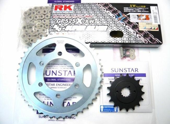 SUNSTAR サンスター フロント・リアスプロケット&チェーン・カシメジョイントセット チェーン銘柄:RK製GP525X-XW(シルバーチェーン) Z1000H