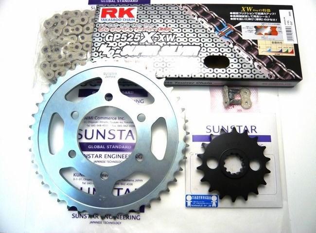 SUNSTAR サンスター フロント・リアスプロケット&チェーン・カシメジョイントセット チェーン銘柄:RK製GP525X-XW(シルバーチェーン) Z1000J