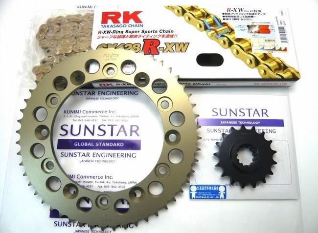 SUNSTAR サンスター フロント・リアスプロケット&チェーン・カシメジョイントセット CBR250RR (MC22)