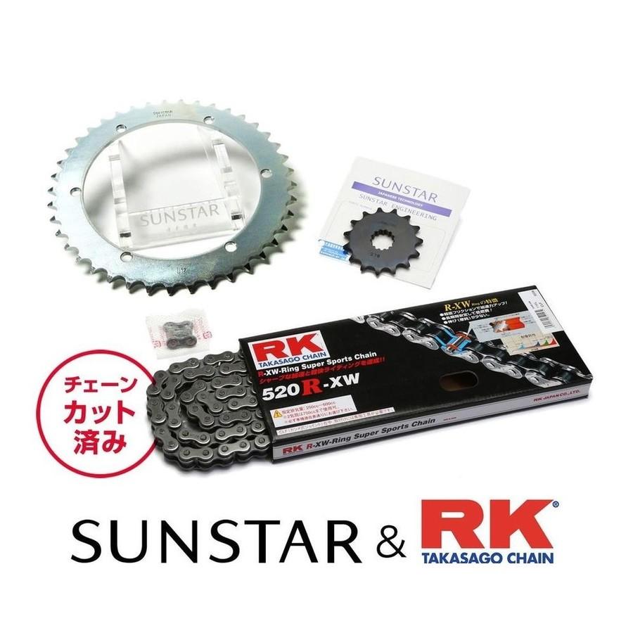 SUNSTAR サンスター フロント・リアスプロケット&チェーン・カシメジョイントセット SR400