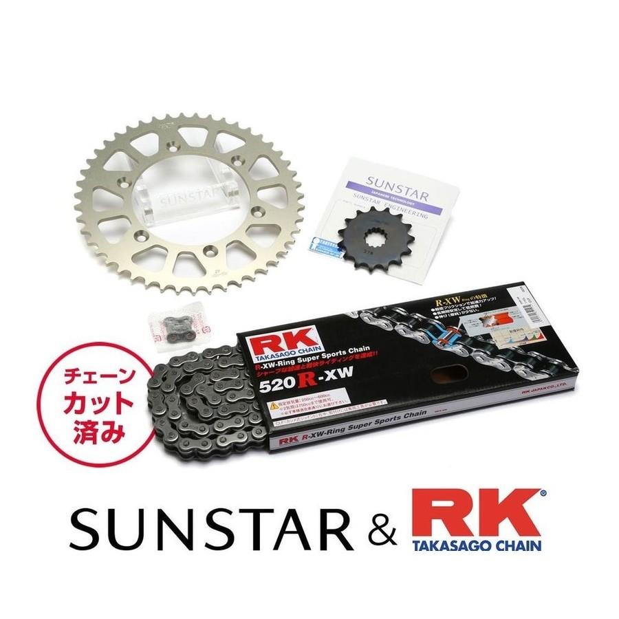 【在庫あり】 SUNSTAR サンスター フロント・リアスプロケット&チェーン・カシメジョイントセット チェーン銘柄:RK製STD520R-XW(スチールチェーン) CRM250AR CRM250R