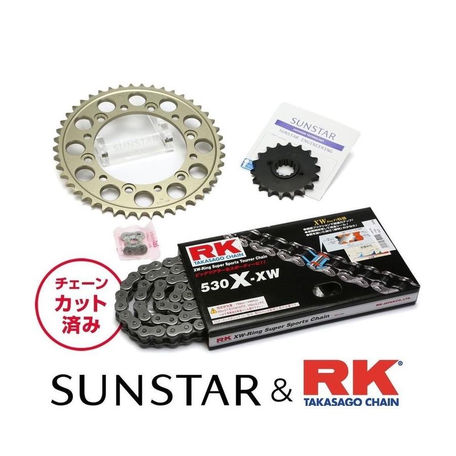 SUNSTAR サンスター フロント・リアスプロケット&チェーン・カシメジョイントセット チェーン銘柄:RK製STD530X-XW(スチールチェーン) CB1300スーパーフォア