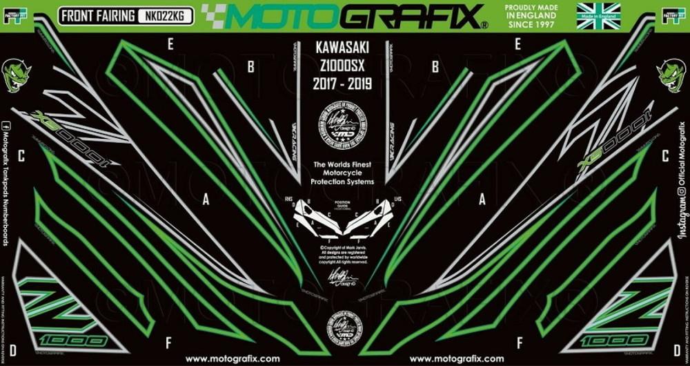 【在庫あり】MOTOGRAFIX モトグラフィックス ステッカー・デカール ボディーパッド カラー:ブラックwithグレー/グリーン&メタリックシルバー ニンジャ1000 (Z1000SX)
