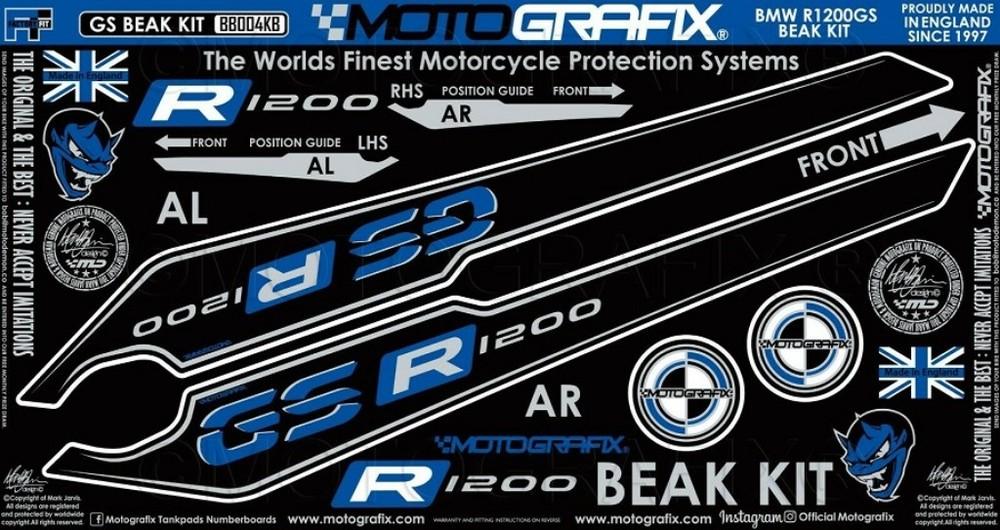 【ポイント5倍開催中!!】MOTOGRAFIX モトグラフィックス ステッカー・デカール BEAK PROTECTION キット カラー:ブラックwithホワイト、ブルー&メタリックシルバー R1200GS