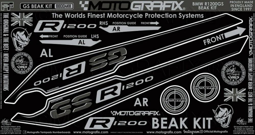 【ポイント5倍開催中!!】MOTOGRAFIX モトグラフィックス ステッカー・デカール BEAK PROTECTION キット カラー:ブラックwithグレー&メタリックシルバー R1200GS