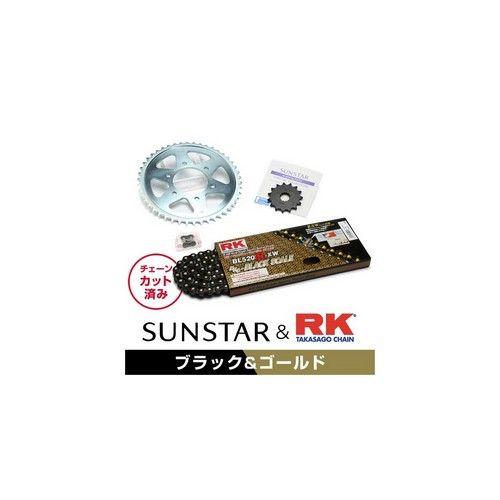 【イベント開催中!】 SUNSTAR サンスター フロント・リアスプロケット&チェーン・カシメジョイントセット チェーン銘柄:RK製BL520R-XW(ブラックチェーン) KDX220SR