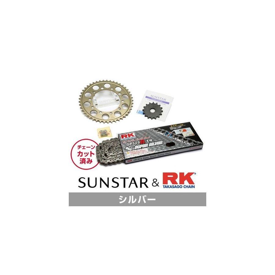 【イベント開催中!】 SUNSTAR サンスター フロント・リアスプロケット&チェーン・カシメジョイントセット チェーン銘柄:RK製GP525R-XW(シルバーチェーン) ZX-6R