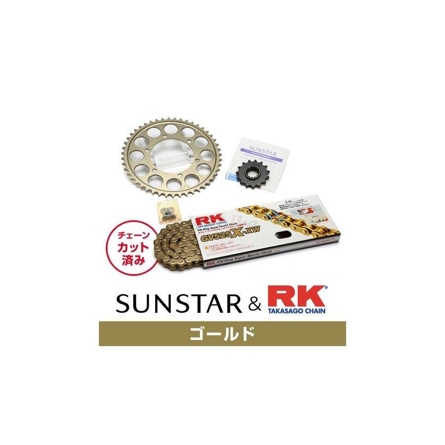 SUNSTAR サンスター フロント・リアスプロケット&チェーン・カシメジョイントセット チェーン銘柄:RK製GV525X-XW(ゴールドチェーン) ZX-10R