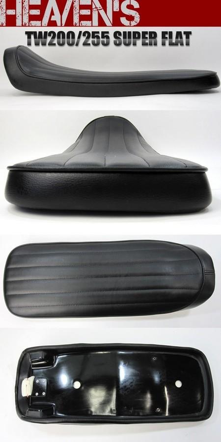 HEAVENS ヘブンズ シート本体 スーパーフラットタイプシート バーチカル エナメルレザー:ホワイト (受注生産) シートカラー:ブラック スタンダード 低反発シート (受注生産) TW200 TW225