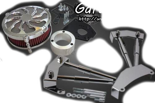 ガレージT&F エンジンカバー ラグジュアリー&プッシュロッドカバーセット エアクリーナー部分:メッキ仕上げ タイプ:タイフーン シャドウスラッシャー400