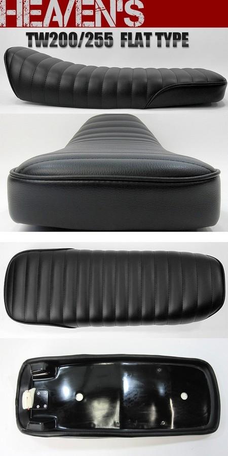 HEAVENS ヘブンズ シート本体 フラットタイプシート タックロール シートカラー:ブラック パイピングカラー:レッド (受注生産) 低反発シート無 TW200 TW225