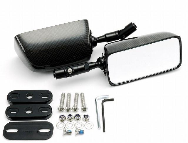 SIMOTA シモタ ミラー類 レーシングスタイル カーボンミラー レクタングルタイプ シャフト長:70mm プレートサイズ:L レンズカラー:クリア