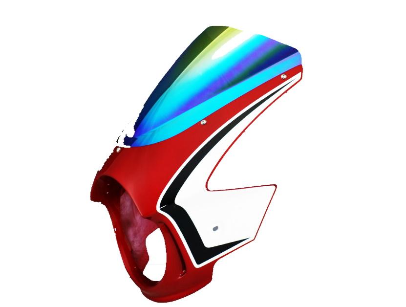 Force-Design フォルスデザイン ビキニカウル・バイザー ビキニカウル スプリントスクリーン カラー:キャンディブレイジングレッド スクリーンカラー:ミラー CB400SF VTEC III 03-06